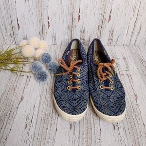 KEDS | Blue & Gold W/ Brown Skinny Laces Size 8.5
